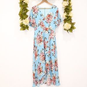 High Low Lined Floral Dress